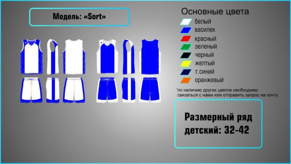 Пошив детской баскетбольной формы